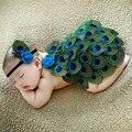 Cute!! Fotografia Bebê recém-nascido Adereços Pavão Artesanal Chapéu De Tricô Infantil Roupas Set-nascidos Roupas de Crochê Para Meninas/Meninos