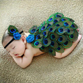 Cute!! Newborn Baby Photography Props Peacock Handmade Knitting Hat Infant Clothes Set Newborn Crochet Clothes For Girls/Boys