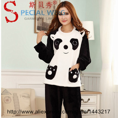 2 pe as livraison gratuite pyjama hiver panda pyjamas pijama femmes lingerie sexy v tements de. Black Bedroom Furniture Sets. Home Design Ideas