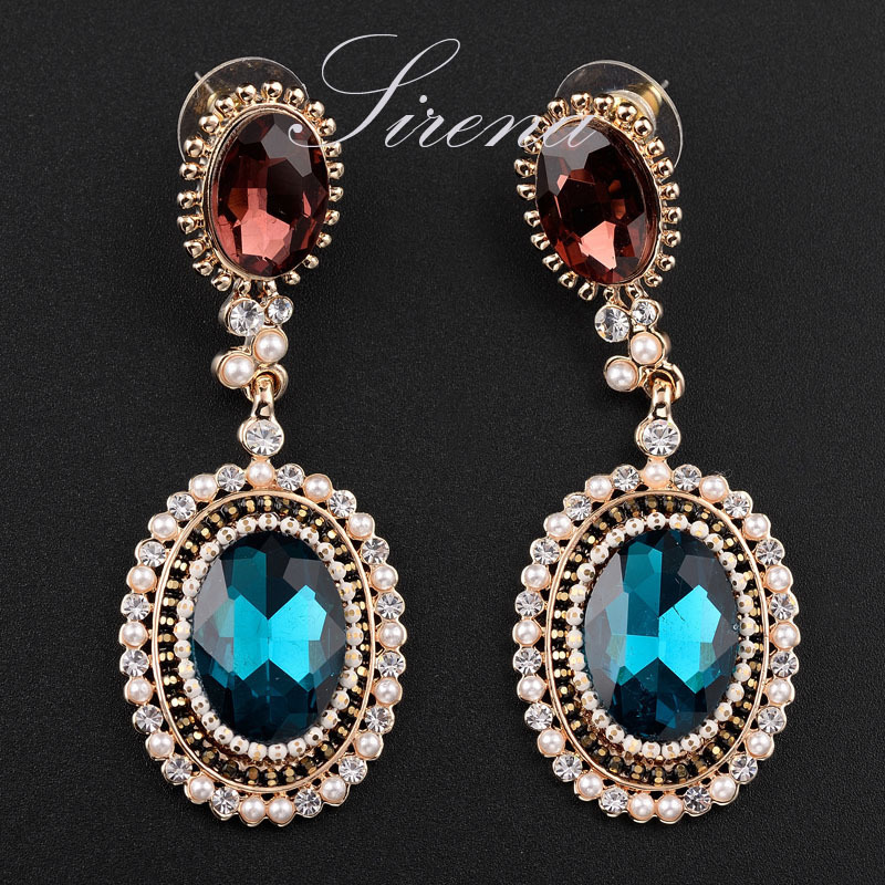 EC121 Luxury Bohemian Gold Plated Dangle Drop Chandelier Big Blue Austrian CZ Crystal Indian Earrings Jewelry Women - SIRENA store