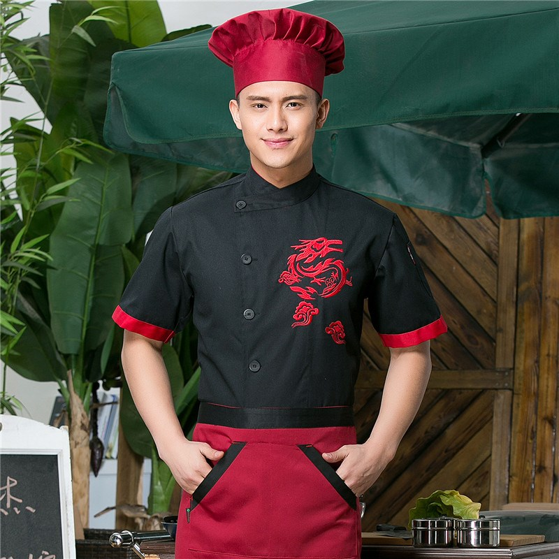 New Unisex Summer Kitchen Chinese style Chef Uniform Men Women Hotel Restaurant cook jacket Short Sleeve Food Services Work Wear