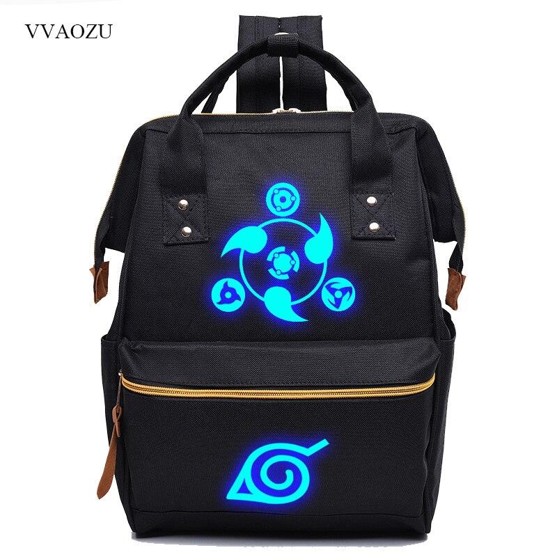 Sac à dos décontracté Naruto Sharingan sac à dos femme sac à dos hommes impression lumineuse sac à dos pour ordinateur Portable Mochila