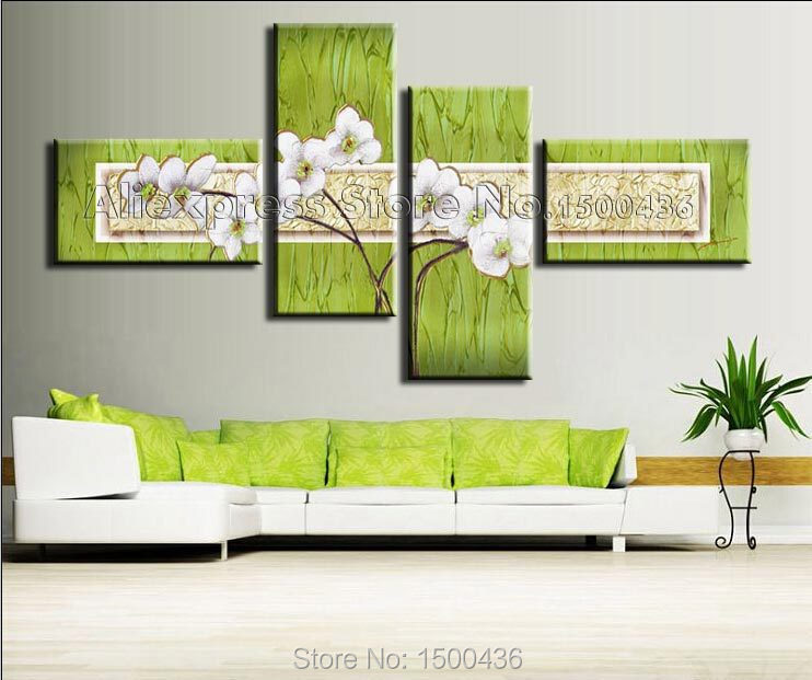 Green Wall Art handpainted abstract white flowers thick textured oil painting 4