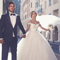 Free Shipping White Tulle Ball Gown Wedding Dresses 2016 Elegant Lace Appliques Cap Sleeve V-neck Tulle Bridal Ball Gowns Online