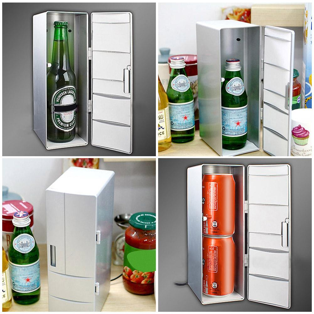 Simple Fashion Design Car DC12V Universal Hot Cold Dual USB Mini Fridge USB Refrigerator Office Home Small Refrigerator