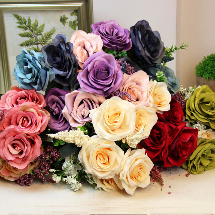 1pc New Luxury 6 Heads Bunches French Style Silk Rose Bouquet