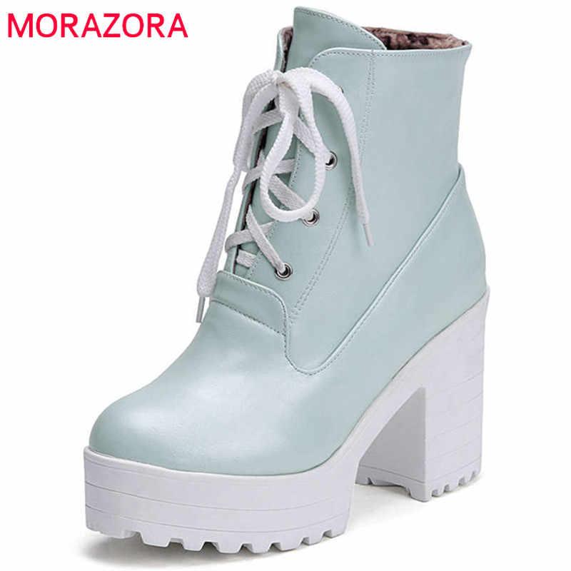 MORAZORA 2020 sıcak satış yarım çizmeler kadın yuvarlak ayak sonbahar kış çizmeler dantel kadar platform ayakkabılar kadın moda yüksek topuklu patik