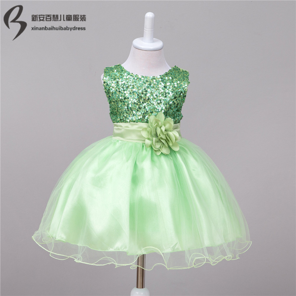 Baby wedding party dress infant flower girl dress sequined