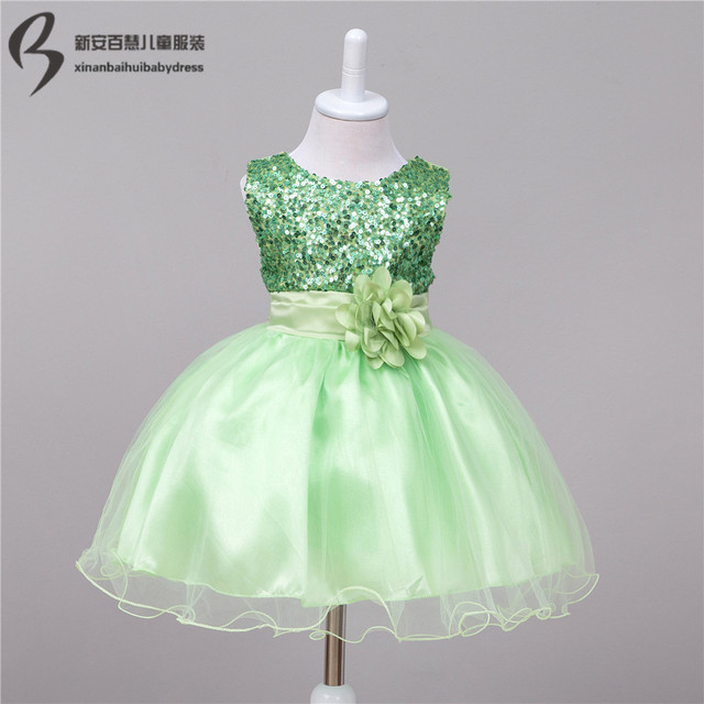 7707272cb4f9c Baby wedding party dress infant flower girl dress sequined formal purple  green black peach pink navy