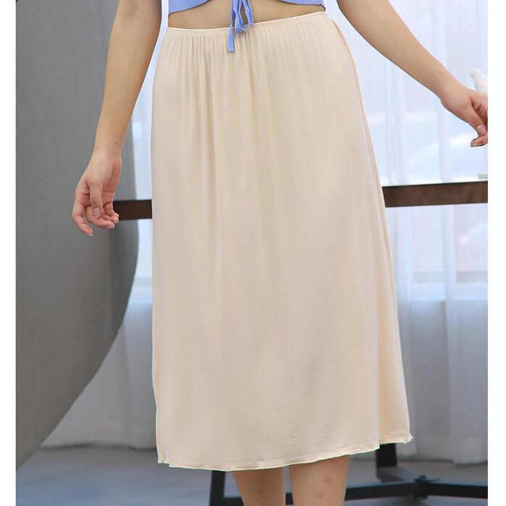 Wanita Setengah Memetiknya Padat Hitam Putih Lembut Pakaian Dalam Petticoat Kasual Musim Panas Wanita Rok Dalaman Underdress Jupon Femme