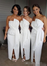 Online Elegant Simple White Bridesmaid Dresses vestido madrinha Sleeveless Satin Formal Evening Wedding Guest Dress