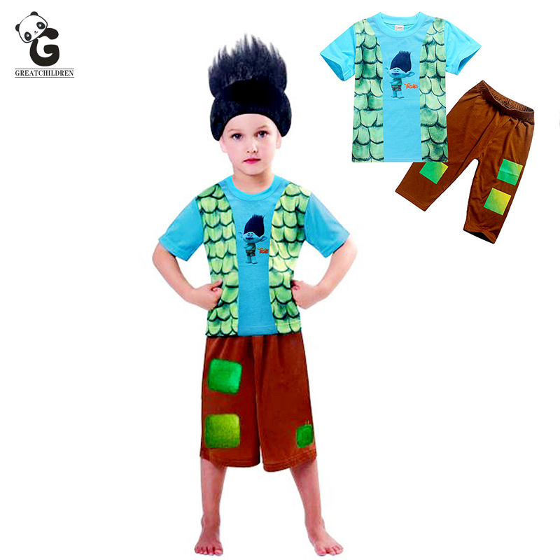 Boys Clothing Sets Summer Children Clothes Sets Trolls Suit T-shirt+Shorts 2pcs Dress Kids Sport Costumes Beach Clothing Set