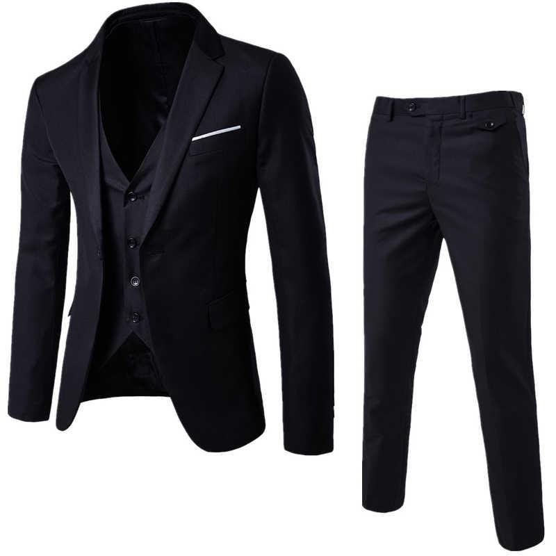 グレー男性スリムフィットワンボタン 3 のスーツブレザーとパンツ 2019 新ビジネスウェディングパーティージャケットベスト & パンツ衣装オム