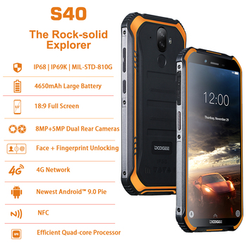 DOOGEE S40 4GNetwork Rugged Mobile Phone 5.5inch Display 4650mAh MT6739 Quad Core 3GB RAM 32GB ROM Android 9.0 8.0MP IP68/IP69K 1