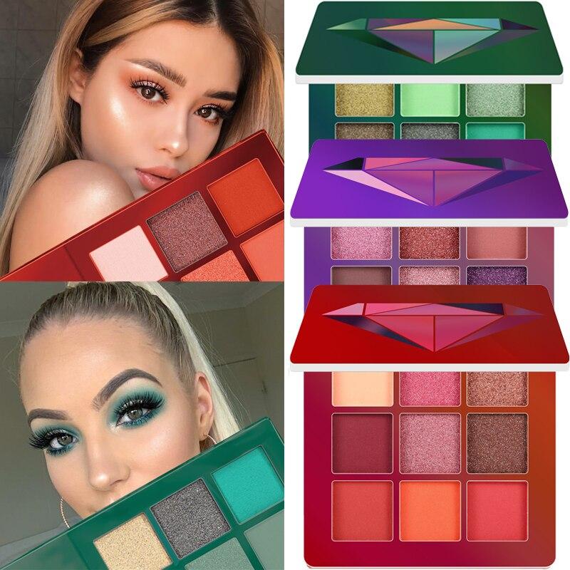 9 цветов блестящие тени для макияжа Pallete матовые тени для век Палитра мерцающие и блестящие алмазные тени для век Пудра пигментная косметика