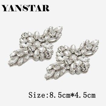 YANSTAR (30pcs) Wholesale Bridal DIY Rhinestones Appliques Patch Hand Rose Gold Crystal Sewing On For Bridal Dress Sash YS978