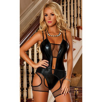 New Stylish Women Black Leather Bodysuit Lingerie Hollow Out Fishnet Patchwork Teddies Fetish Lingerie Night Body