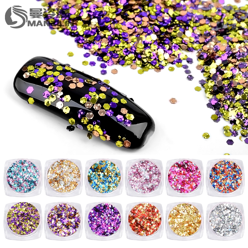 Manzilin 1 Box Ultradünne Hexagon Nagel Pailletten Flocke Bunte Charme Nail Art Glitter Tipps Uv Gel 3d Nagel Dekoration Maniküre Diy Nails Art & Werkzeuge