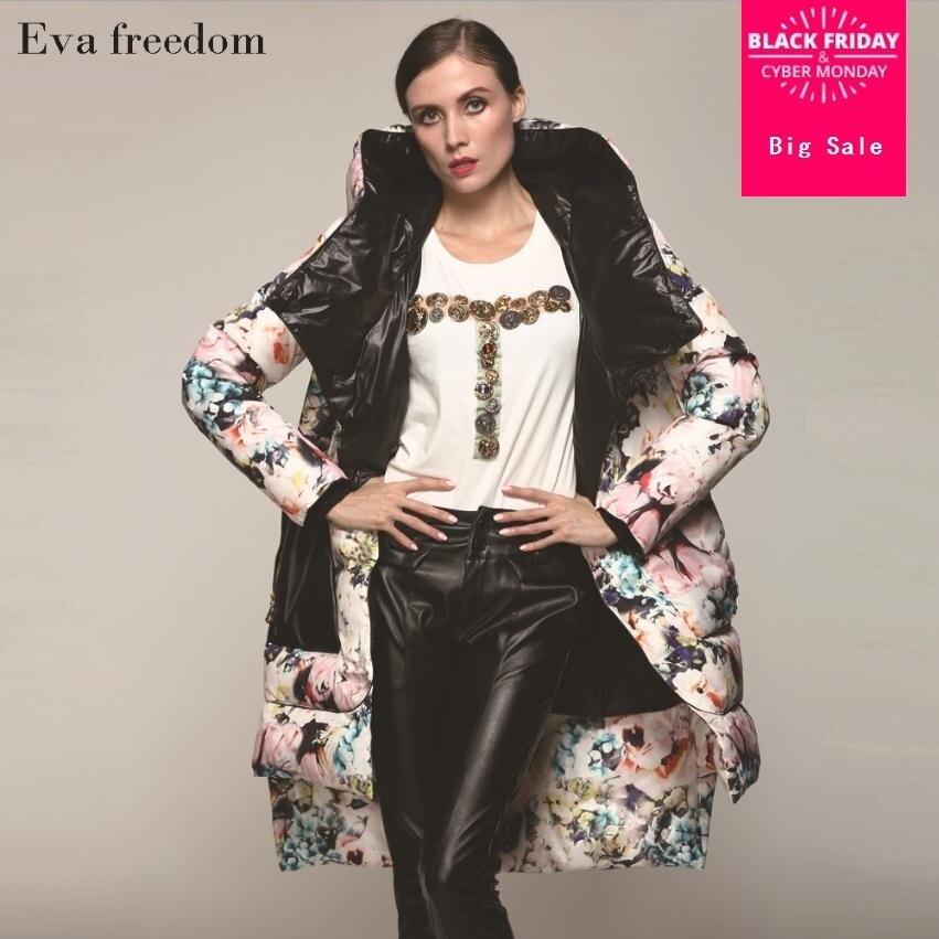 S-2XL 90% plumón de pato marca de moda con capucha largo asimétrico abajo chaqueta para mujer estampado Slim grueso cálido abrigo wj2713