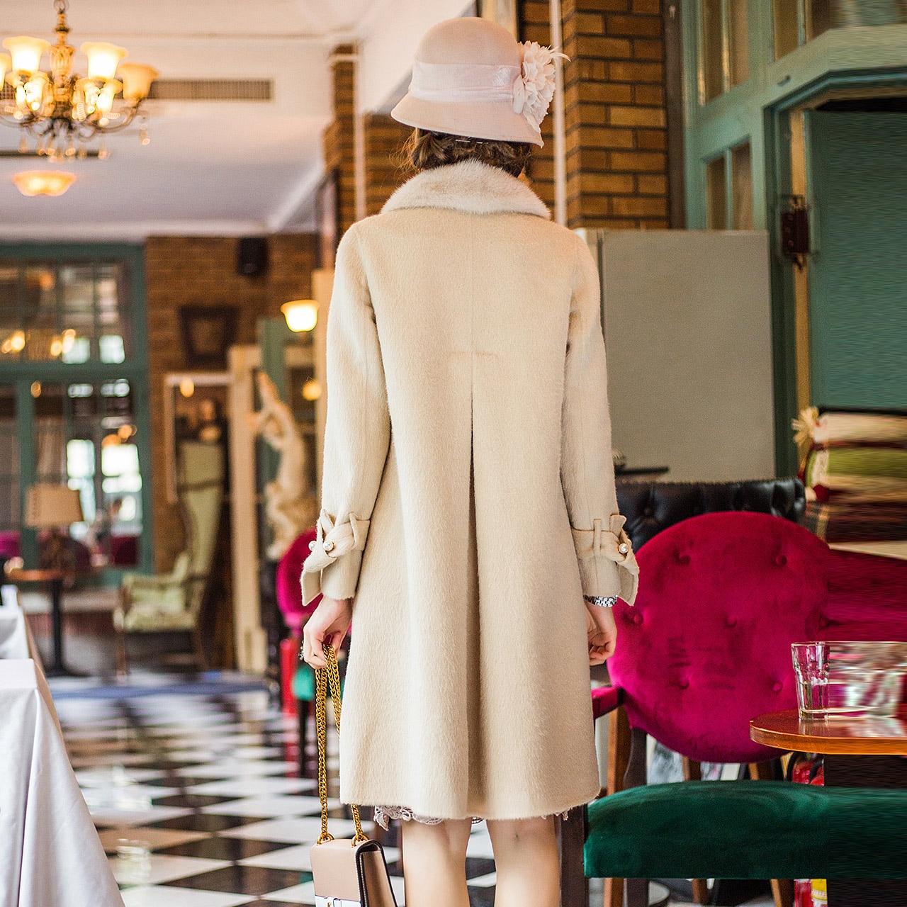 Femme Manteaux Laine Ivoire La Des De Veste D'hiver Mouton Femmes Vraie Manteau camel Vestes Fourrure 7Fnw5