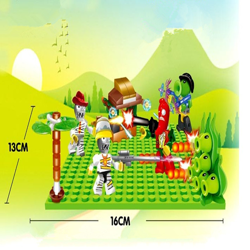 Plants vs Zombies struck game wars figures Dolls Desktop Building Blocks Bricks kids toys Compatible my world minecraft