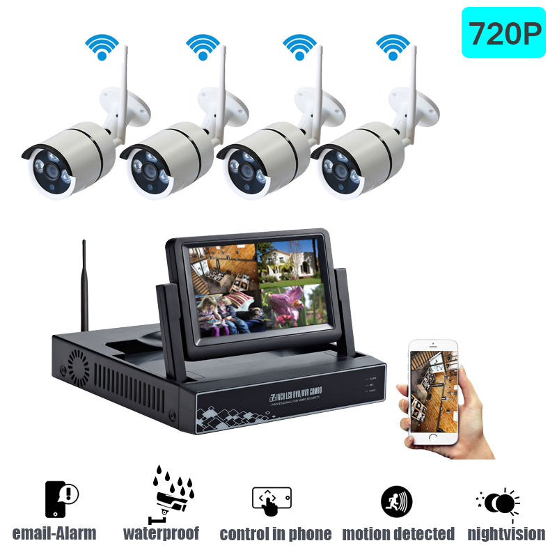 Wireless Security Camera System Video Surveillance Kit 4CH Wifi NVR Kit P2P HD 720P Night Vision Wireless CCTV IP Camera Kit Set poe p2p nvr kit hdmi 1080p 4ch 10 1 led monitor kit 720p 4pc 1 0mp hd ip camera night vision 720p hd poe nvr surveillance system