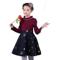 Hot Sale Girls Long Sleeve Dress Cute star Printed 2017 Winter Autumn Baby Girl Dresses Princess Beading