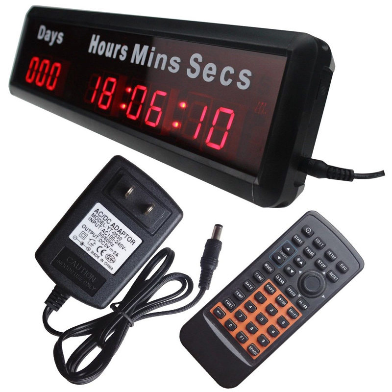 Mains Powered Digital LED Wall Clock Days Countdown Count Up Timer With Remote Control For Office Home Decoration