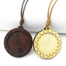 Jiangzimei 24pcs Dark Brown, blog Wood Pendant settings 30mm round blank wooden cabochon with leather cord for necklace making