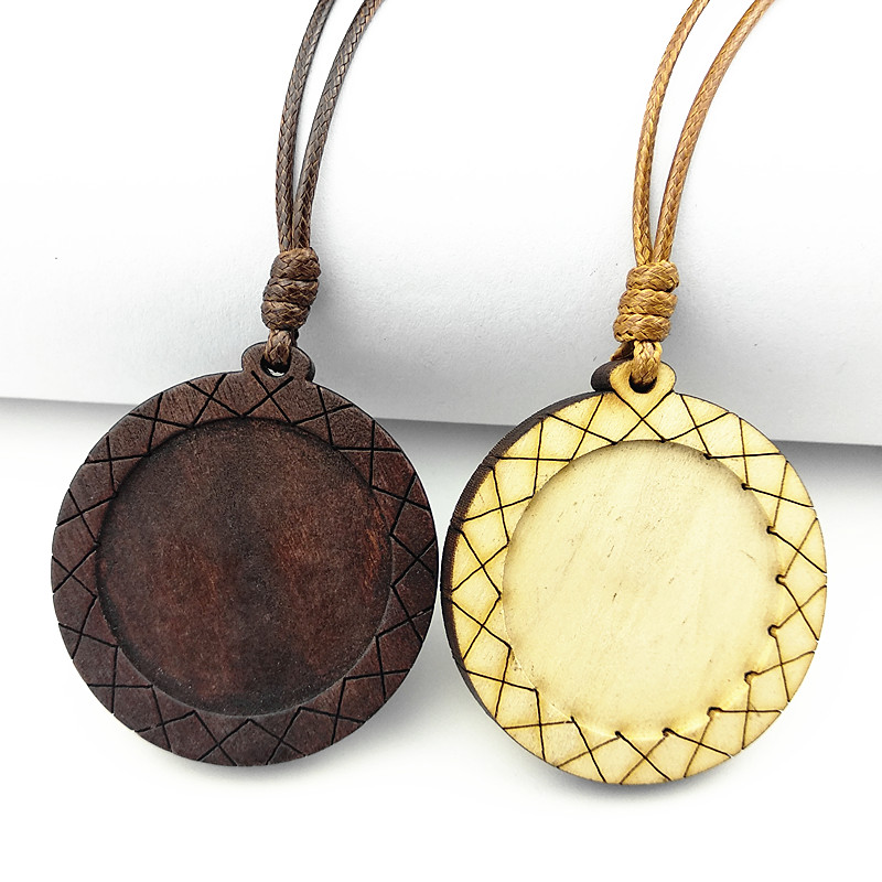 Jiangzimei 24pcs Dark Brown, blog Wood Pendant settings 30mm round blank wooden cabochon with leather cord for necklace making image