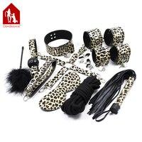 Davidsource Leopard Da Wrist & Ankle Cuff Roi Wiffle Bóng Gag Collar Cái Băng Núm Vú Kẹp 10 M Rope Feather Kiềm Chế đồ chơi