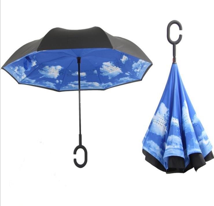 Double Layer Upside Down Inverted Umbrella Reverse-Design Umbrella Windproof US