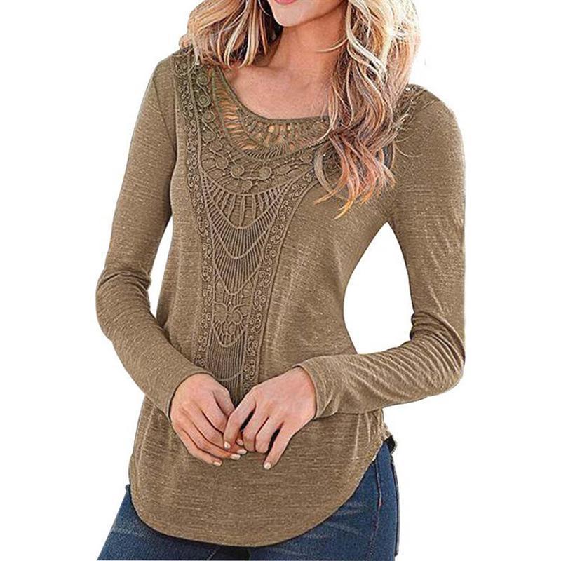 ✅Vintage étnico Boho Blusas sexy mujer crochet blusa camisa mujeres ...