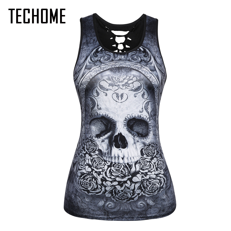 TECHOME New Women Summer 3D Vests Back Hollow Out Sexy Tops Cartoon Print Camisole Sexy Skull Punk Tops Brand Clothing Shirt XXL