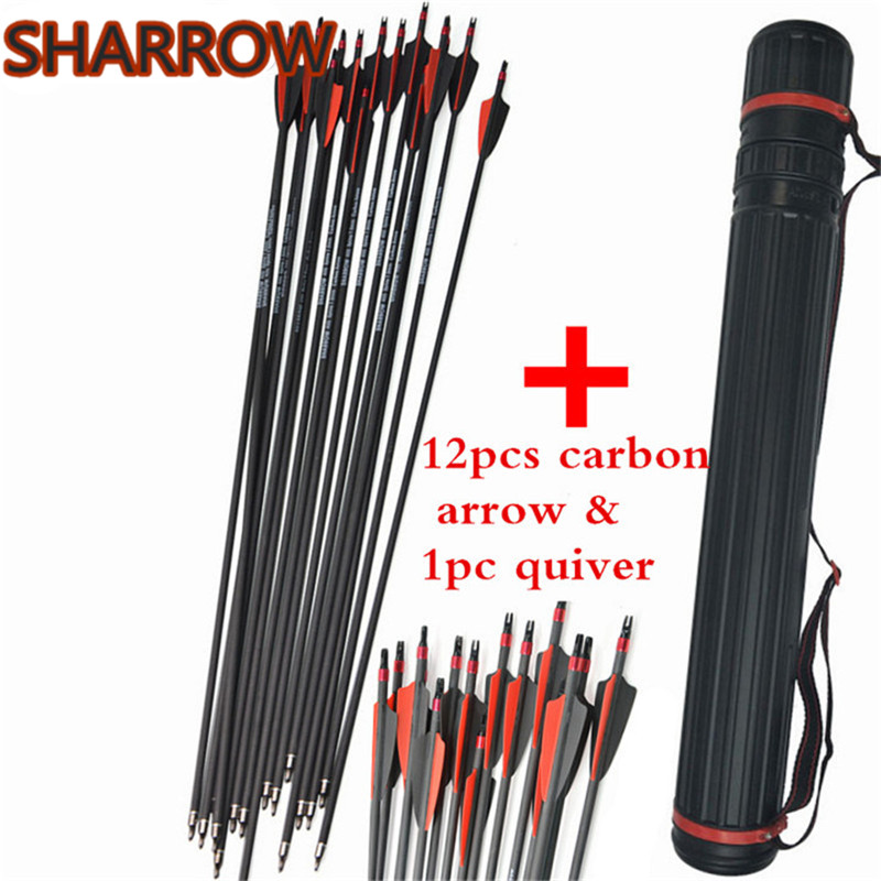 12pcs 30 Archery Carbon Arrows SP400 Explosion Proof Ring Nocks Replace Broadheads Arrow Quiver Hunting Shooting