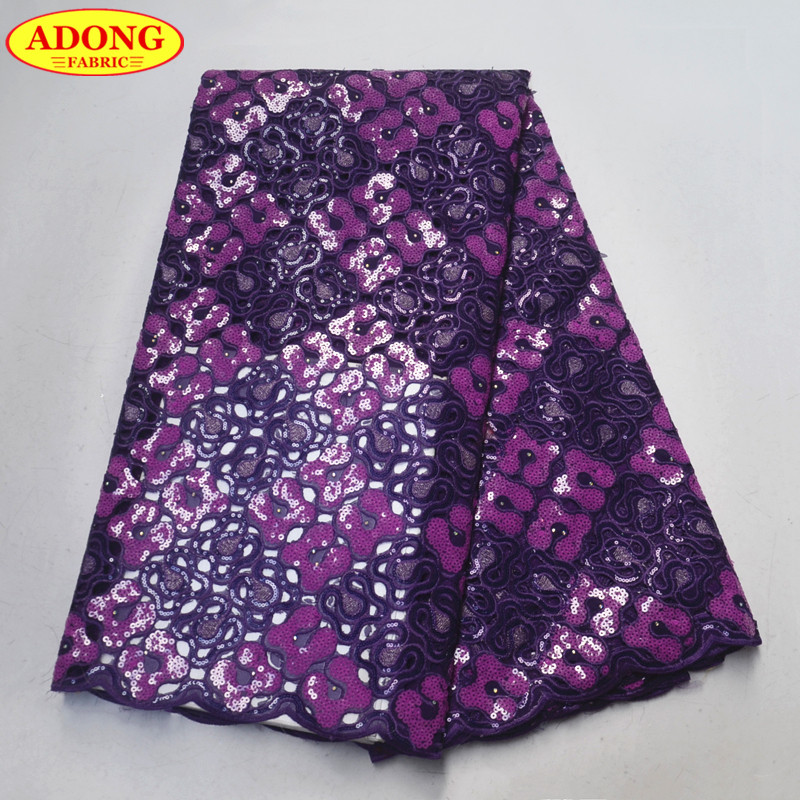 Fashion Design Hollow Out Lace 5 Yards African Organza Lace Fabric With High Quality African Sequins