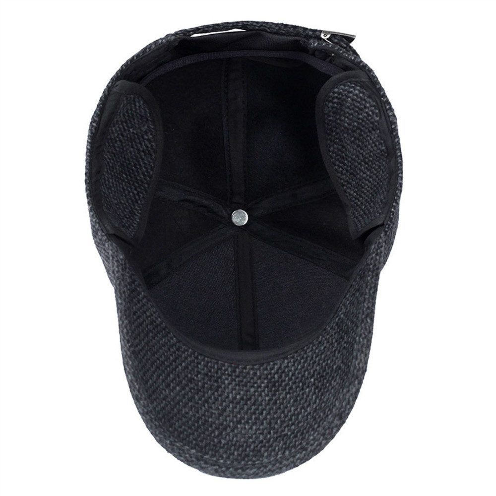 a4194a49458 Mens Winter Wool Tweed Peaked Earflap Baseball Cap Folding Earmuffs Design  Casual Adjustable Warmer Hat Outdoor Driving Golf-in Running Caps from  Sports ...
