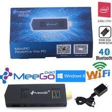 MeeGOpad T02 Win10 Домашняя Версия Mini PC Обновить MeeGoPad T01 Intel Z3735F Quad-Core 2 ГБ/32 Г Wi-Fi Bluetoot HDMI TV Box Stick
