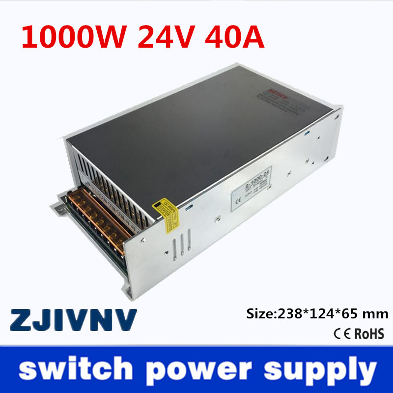 Small Volume Single Output 1000W <font><b>24V</b></font> <font><b>40A</b></font> <font><b>Switching</b></font> <font><b>Power</b></font> <font><b>Supply</b></font> Transformer AC110V or 220V TO DC SMPS for LED Light CNC Stepper image