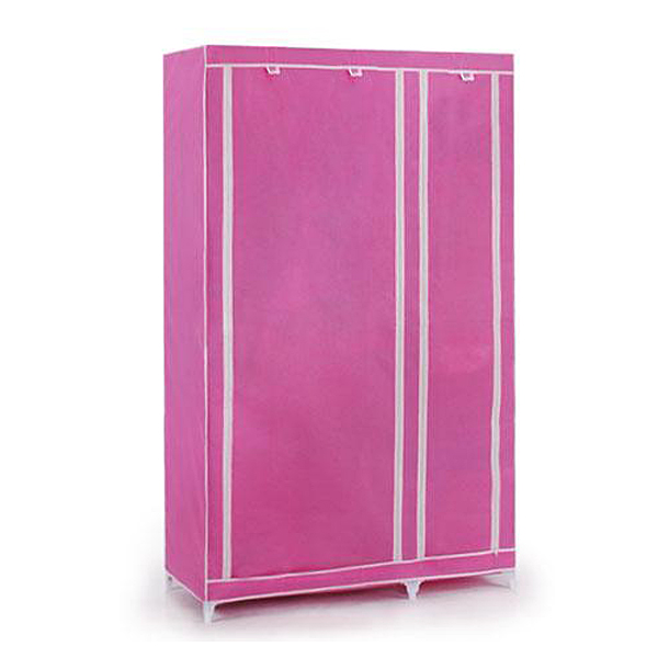 Best Foldable Double Canvas Wardrobe Clothes Rail Hanging Storage Cupboard Shelves - Pink wardrobe extra large eco friendly cartoon hanging clothes cabinet wardrobe storage box wire combined type child simple