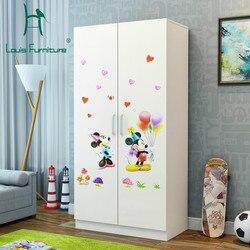 Louis mode armoires pour enfants petite famille placard location chambre moderne économie Type deux Simple panneau en bois massif