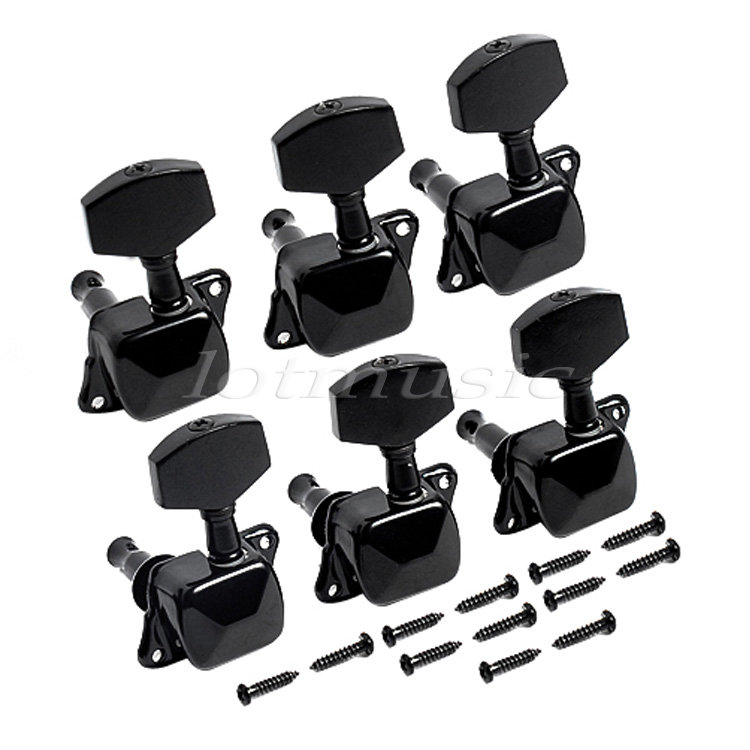 buy guitar tuning pegs 6l turners machine heads inline silver chrome black for. Black Bedroom Furniture Sets. Home Design Ideas