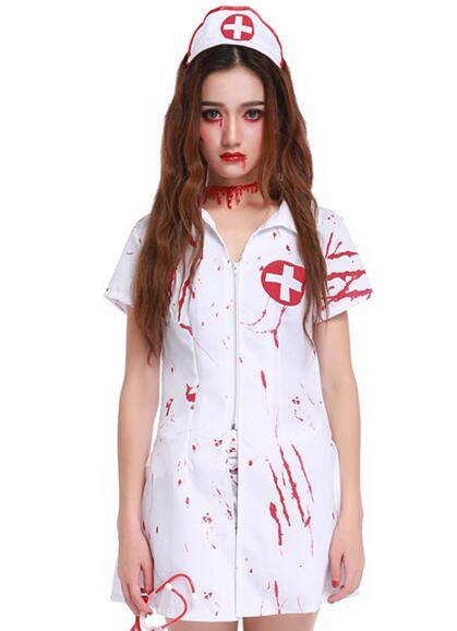 Nurse ghost white Costume for women Halloween canival dress zombie Scarey Cosplay fantasia infantil anastasia veilfancy Elastic