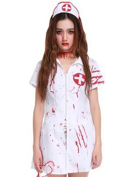 75c6a182c Enfermeira zumbi fantasma branco vestido de Traje para as mulheres  Halloween canival Scarey veilfancy anastasia Cosplay fantasia infantil  Elástico