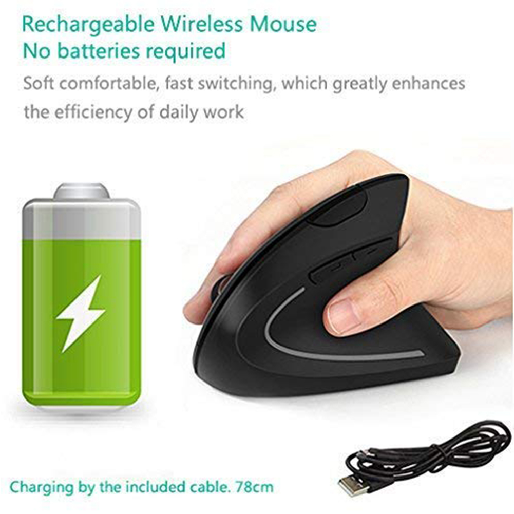 2.4G For Laptop Ergonomic Fashion Silent Computer Vertical Mouse USB Charging 5D Optical Gaming PC Comfortable Office Wireless