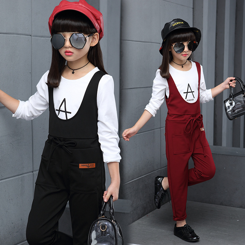 New Spring Children Girl Clothing Casual Fashion Kids Rompers Bibs Trousers +Tops Shirt