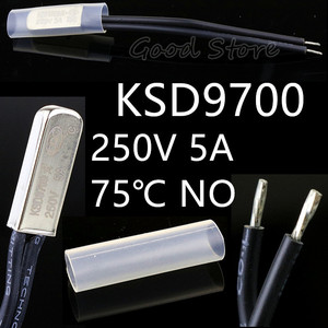 1Pcs 250V 5A 75 Degree Celsius KSD9700 Temperature Switch Thermal control Normally Open
