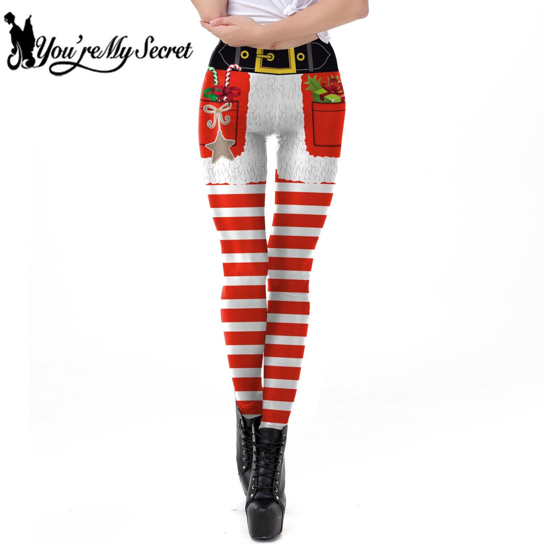[You're My Secret] 2018 Navidad Sexy mujer Legging Cinturón estampado nuevo diseño elástico invierno rayado Leggins pantalones hasta el tobillo