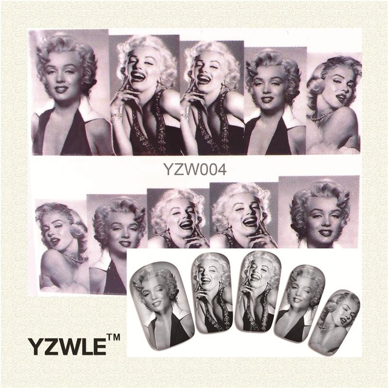 YZWLE 1 Folha Preto e branco Mulheres gráficos Nail Art Decalques Transferência de Água Stickers, Manicure Ferramenta Decor Capa Envoltório Prego Decalque