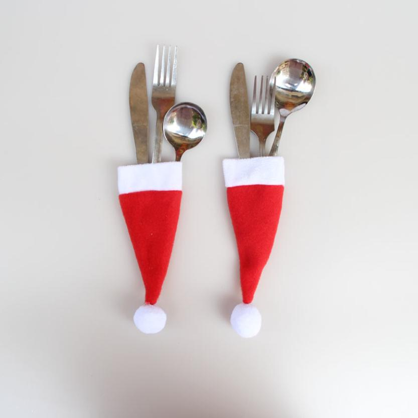 Merry Christmas Christmas Gifts!Christmas Decorative tableware Knife Fork Set Christmas Hat Storage Tool Decoracion Navidad